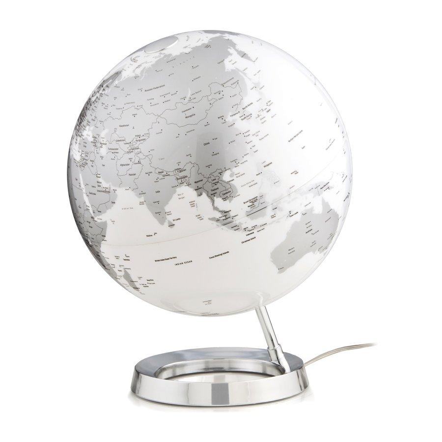 Wereldbol globe Bright Chrome diameter 30cm kunststof voet met ...
